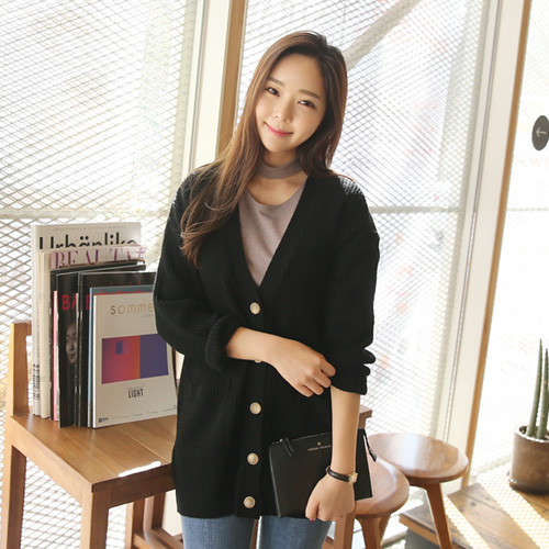Envylook Button Up Thick Knit Cardigan