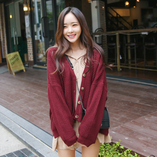 Envylook Ribbed Button Up Knit Cardigan