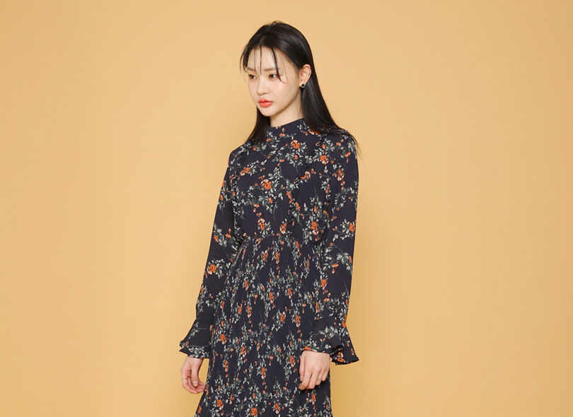 Envylook Floral Print Shirred Dress
