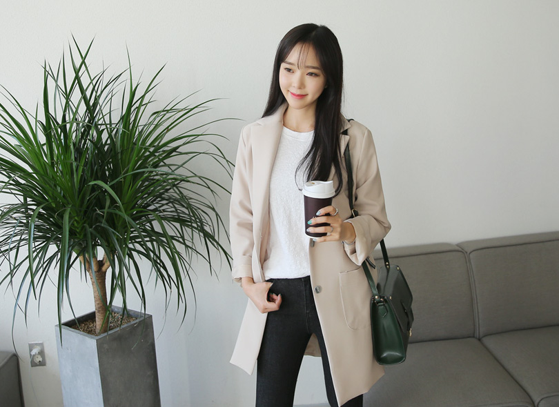 Envylook Wide Collared Single-Breasted Coat