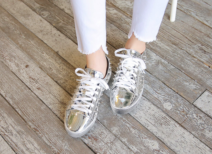 Envylook Stud Lace-Up Pleather Sneakers