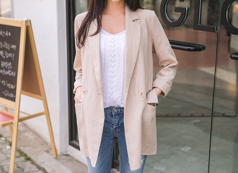 Envylook Double-Breasted Linen Jacket