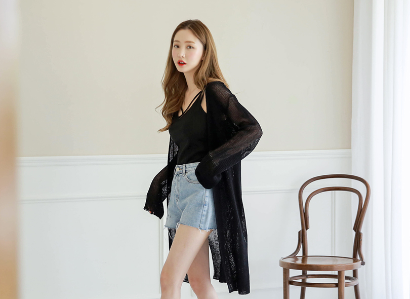Envylook Side-Slit Sheer Long Knit Cardigan