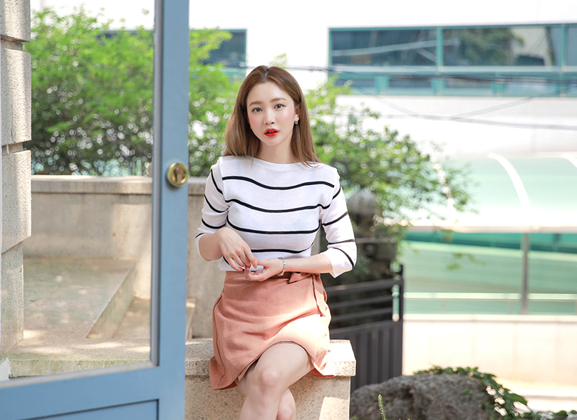 Envylook Breton-Striped Fitted Knit Top