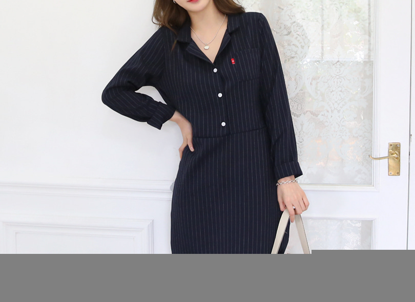 Envylook Notched Collar Striped Shirt Dress
