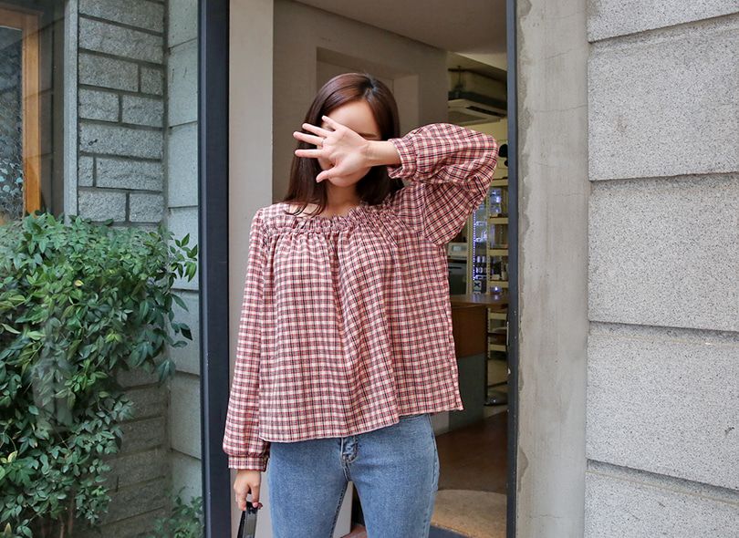 Envylook Check Square Neck Smock Blouse