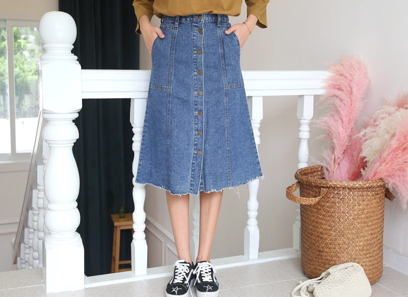 Envylook Buttoned Front Midi Denim Skirt