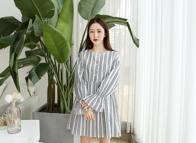 Envylook Round Neck Loose Fit Smock Dress