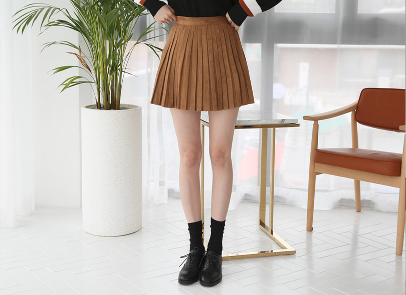 Envylook Side Zip Faux Suede Pleated Skirt