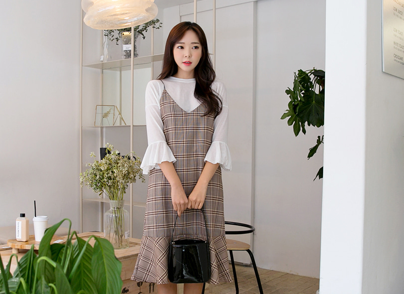Envylook Flared Check Cami Dress