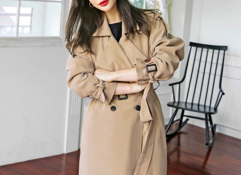 Envylook Buckle Detail Double Breasted Trench Coat
