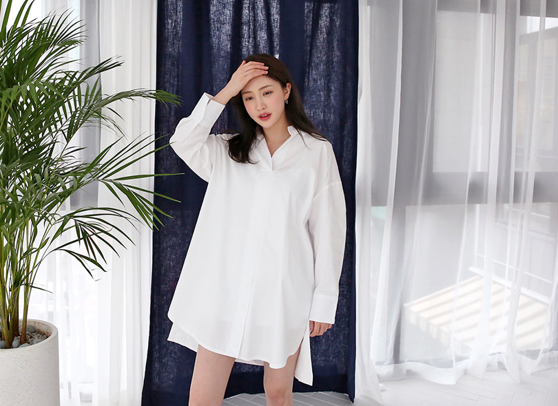Envylook Slit Hem Drop Shoulder Shirt