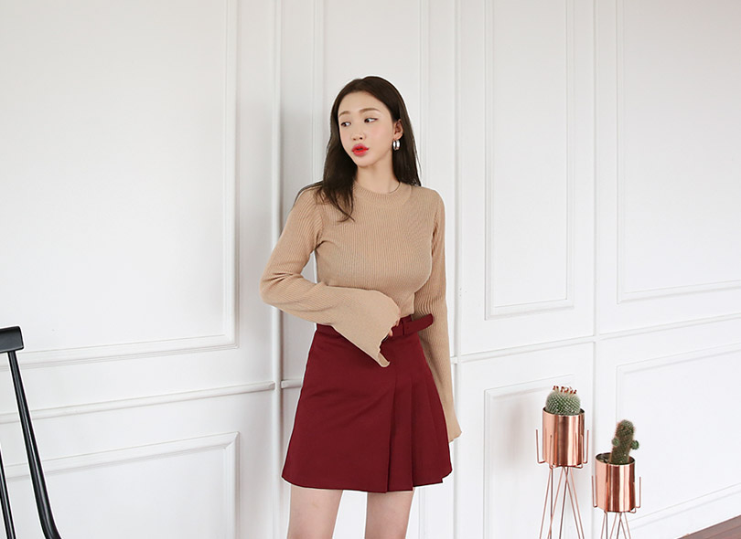 Envylook Slit Sleeve Ribbed Knit Top