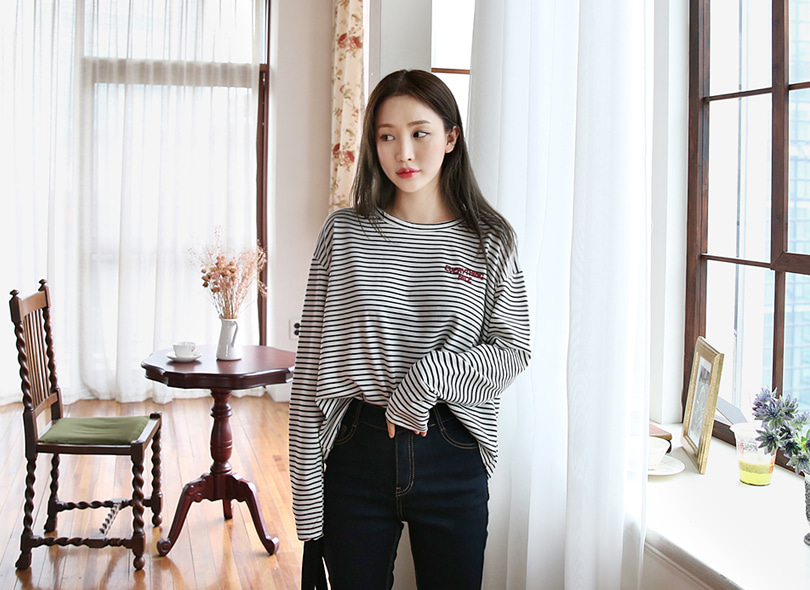 Envylook Drop Shoulder Boxy Stripe T-Shirt