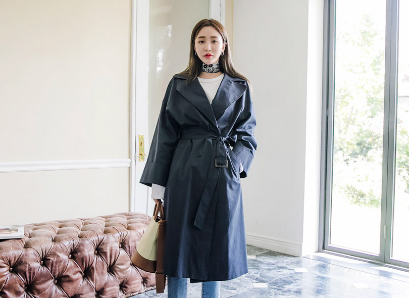 Envylook Double Breasted Loose Fit Trench Coat