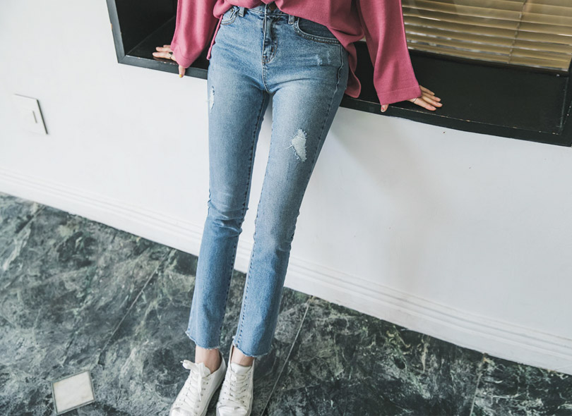 Envylook Mid Rise Raw Hem Distressed Jeans