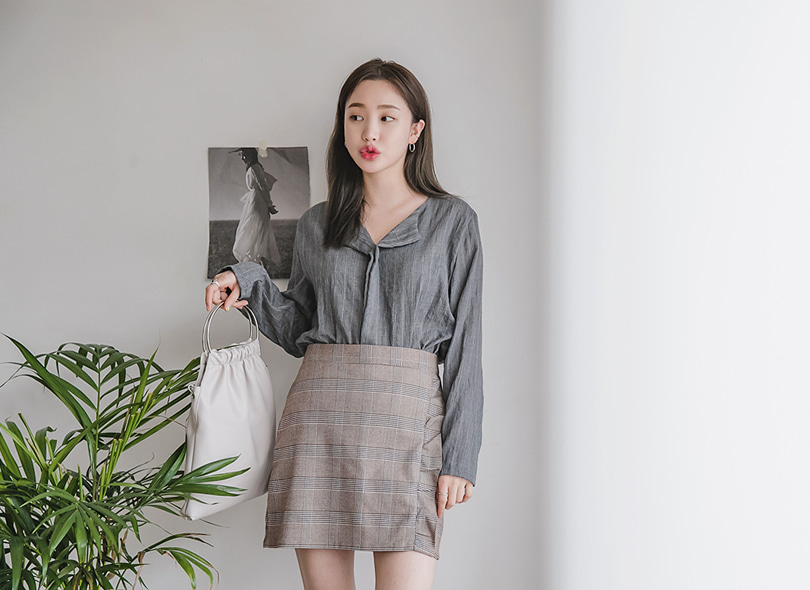 Envylook Lapel Neck Loose Fit Pinstripe Blouse