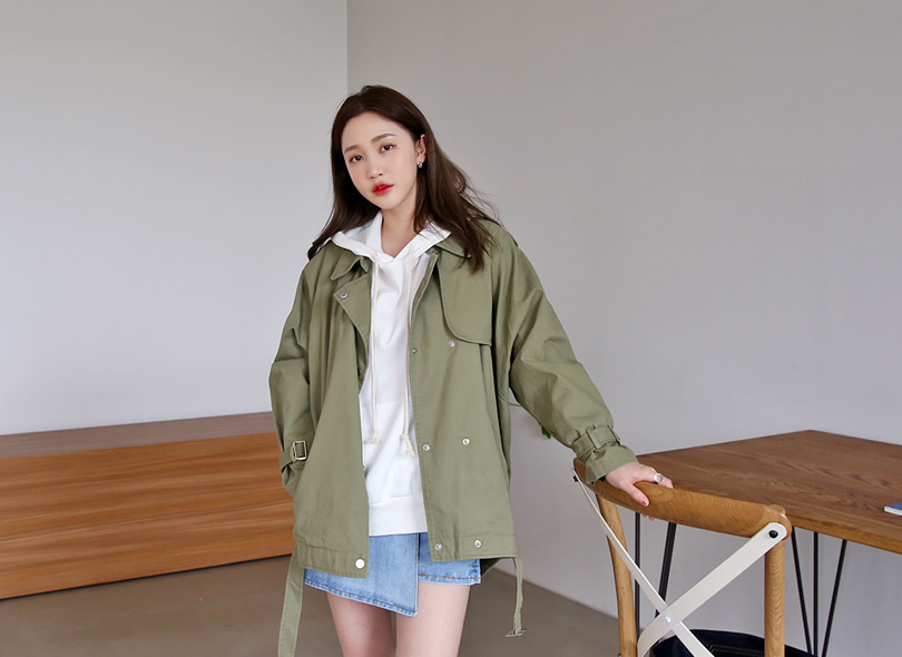 Envylook Buckled Button Up Utility Jacket