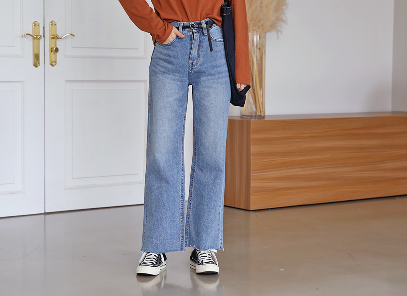 Envylook High Waist Raw Hem Wide Leg Jeans