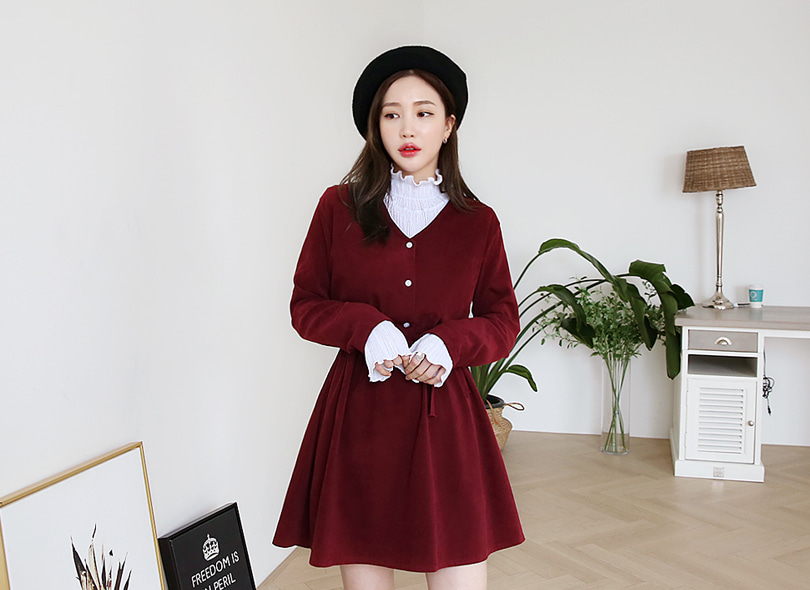 Envylook V-Neck Tie-Waist Dress
