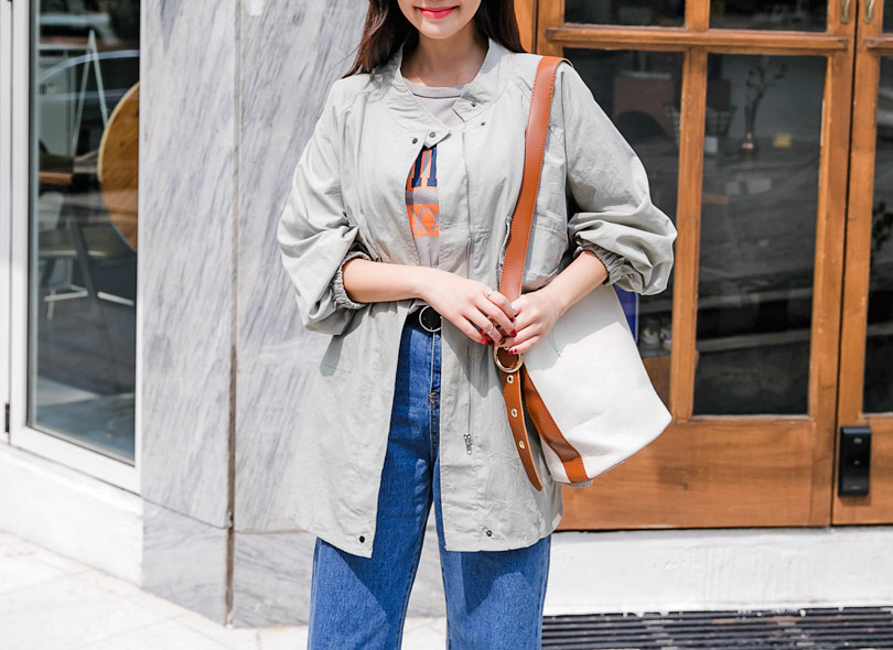 Envylook Stand Collar Loose Fit Utility Jacket