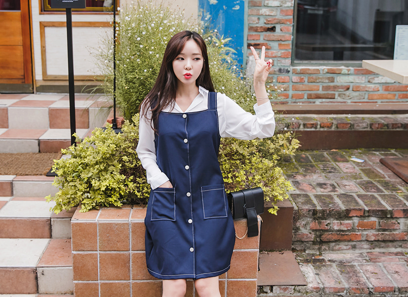 Envylook Button-Up Stitch Detail Pinafore Dress