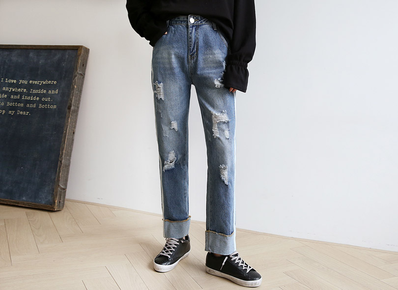 Envylook Side Stripe Distressed Jeans