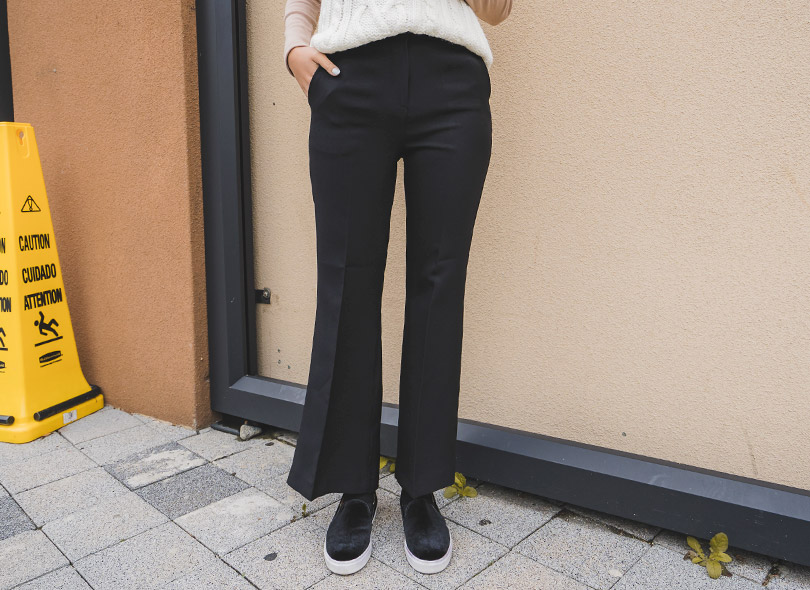 Solid-Tone Semi Bootcut Pants