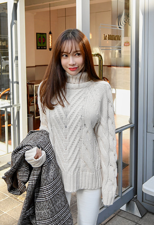 Side Slit Turtleneck Cable Knit Top
